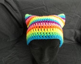 Rainbow kitty beanie