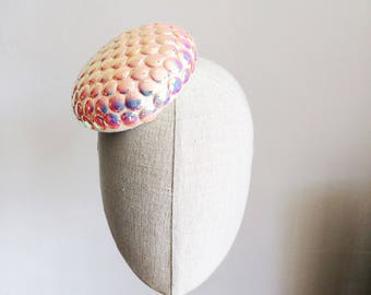 Mermaid Scales Sequined Mother of Pearl Mini Cocktail Hat