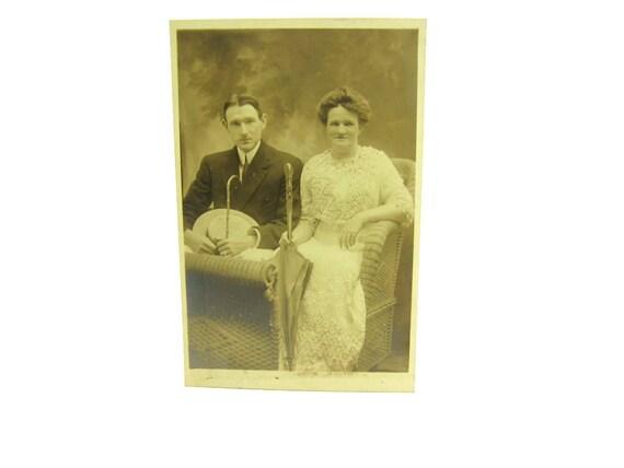 Atlantic City NJ Boardwalk Beach Postcard. Real Photo Romantic Couple in Rolling Cart. Edwardian Fashion. Sepia Photo. 1900s Antique RPP.