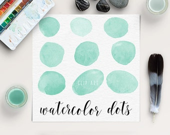 WATERCOLOR DROPS | Mint Watercolor Circles | Dots Clipart | Hand Painted Splotches | Logo Design, Blog Design | Coupon Code: BUY5FOR8