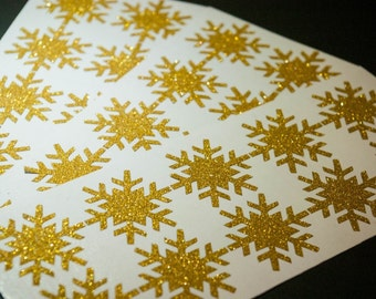 20 Glitter Gold or Silver Christmas Snowflake Stickers, Holiday Envelope stickers, Envelope Seals, gift wrapping, glitter Stickers, winter