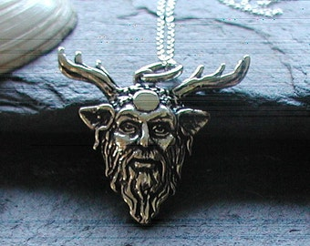 """Sterling Silver Pan God Pendant Necklace 18""""Sterling Silver Chain"""