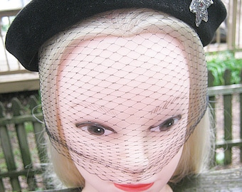 Black Velvet Pillbox Style Hat, 1940's Velvet Hat By Dani, Grey Beaded Star Embellishment, Netting Ties In Back, Merimac Peachbloom Velour