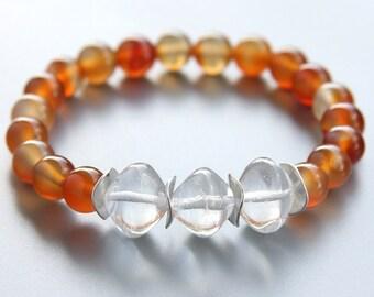 Mothers Day Gift Natural Agate Bracelet Lampwork Glass Beads Sterling Silver Boho Stacking Bracelet Orange Stone Bracelet Bohemian Custom