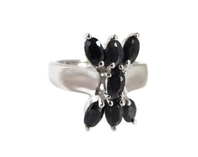 Black Sapphire Ring, Sterling Silver Ring, Vintage Jewellery, Statement Ring, Unique Ring, Gift Ideas