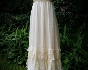 Custom boho Wedding dress- bohemian, slip dress, long, floor length, lace, handmade wedding, upcycled, victorian, maxi dress, sun dress
