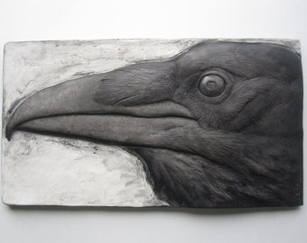 Raven Wallsculpture hand painted detailed black and white nature gift fine artwork