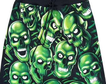 Glow In The Dark Skull Pile All Over Print A-Line Knee Length T-Shirt Skirt By IDILVICE