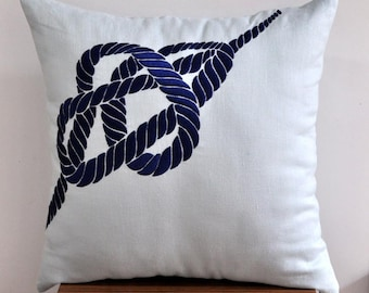 """Blue Nautical RopeThrow Pillow Cover - 18"""" x 18"""" Decorative Pillow Cover - Light Sky Blue Linen with Dark Blue Nautical Pattern Embroidery"""