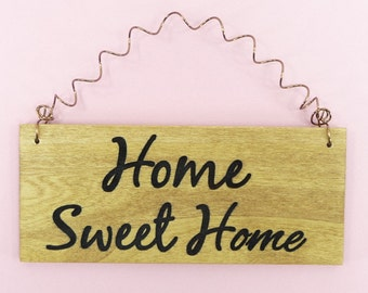 HOME SWEET HOME Wood Sign Laser Engraved Stained Painted Cute Decor First House Warming Gift New Home Owner