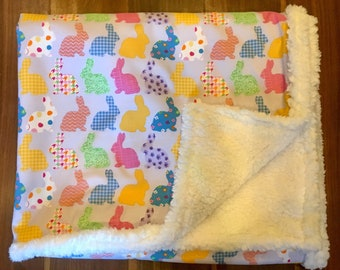 Personalized Spring Bunnies Blanket