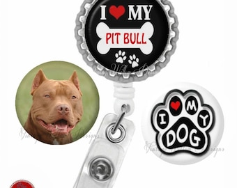Pit Bull Retractable ID Badge Reel with (3) Charm Magnets