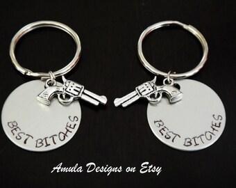 Best Bitches Best Friends hand gun pistol key chain set Gift Handstamped Key Chain Fob Ring
