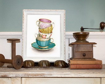 "Mother's Day Gift Idea - Vintage Teacups Illustration (Archival Print) - Tea Cup Art - ""Tea for Five"" by Alicia's Infinity"