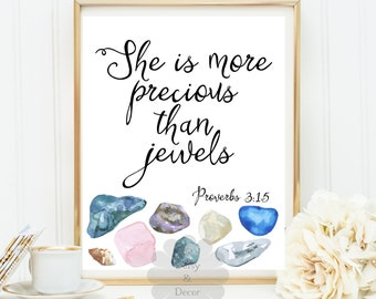 Proverbs 3:15 She is more precious than jewels  Bible verse Christian quote nursery art floral print Scripture Typography print poster art