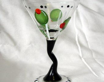 Hand Painted Olives Tipsy Martini Glass Dishwasher Safe