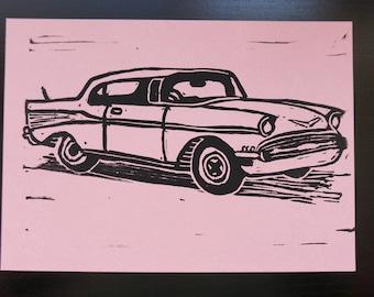 Classic Car - block printed postcard