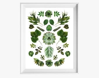 Collage vert 8 x 10 ou 8,5 x 11. Comme on le voit dans HGTV. Tirage Fine Art photographique. Minimaliste. Accessoires décoration naturelles. Intérieur jardin botanique.