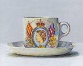 Coronation June 2nd 1953, Royal Harvey. Original egg tempera painting, framed.