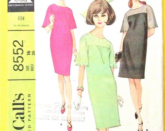 Uncut McCall's 8552 Sheath Dress with scalloped sleeve Easy to Sew 1960s  One-Piece Dress Women's Vintage Sewing Pattern Bust 36