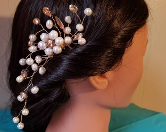 Natural pearl rhinestone wedding bridal party hair pin accessory