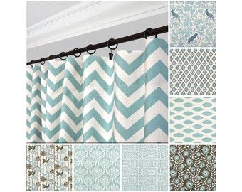 Light Blue Curtains.Mineral Blue Window Curtain.Light Blue Kitchen Curtain.Brown Blue Drapes.Blue Gray Curtains.Floral Curtains