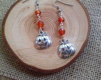 Jack-O-Lantern earrings / pumpkin earrings / carnelian
