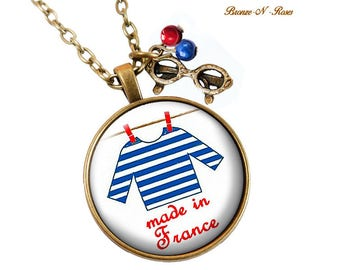 Necklace Made in France cabochon blue and red striped sailor