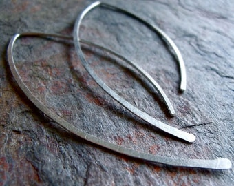 Sterling Silver Earrings Graceful Curve Earrings - Lightweight Long Sterling Silver Earrings