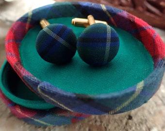 Tartan Cufflinks, Vintage Cufflinks, Boxed Cufflinks, Scottish Cufflinks, Gold Cufflinks, Cufflinks, Suit Accessories, Gifts for Him