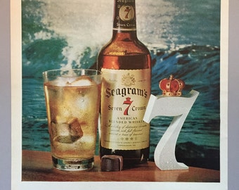 1961 Seagram's 7 Crown Whiskey Print Ad - Highball