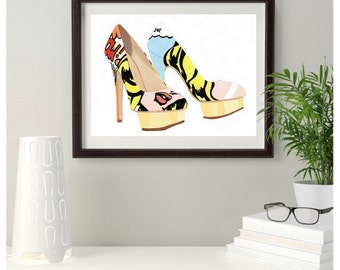 Charlotte Olympia Pop Art Fashion Shoe Original Painting size 10 x 8 inches, Gift idea