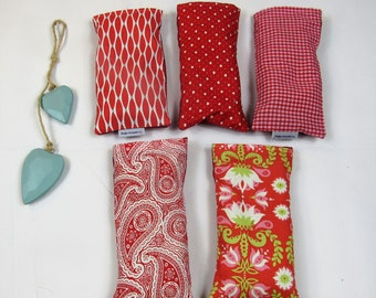 Lavender eye pillow, removable, washable cover - reds, ideal for yoga and meditation, great gift, made in the UK - free UK postage