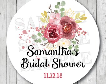 Watercolor Floral Shower Favor Stickers, Personalized Fall Floral Labels, Watercolor Bridal Shower Tags, Watercolor Burgundy Floral Tags