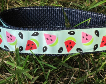 "Watermelon Party 1"" Adjustable Dog Collar Made to Order"