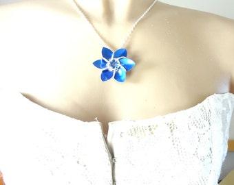 Something Blue Flower Wedding Necklace