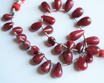 Red Ruby pear beads. Graduated ruby teardrop beads. Precious gemstone beads 8''