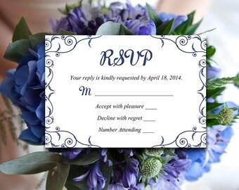 "DIY Wedding Template RSVP ""Decadence"" Navy Blue Black   Instant Download Wedding Printable   Formal Wedding Invitation Response Card"