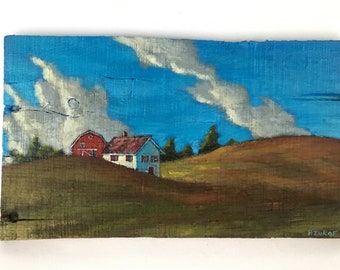 landscape painting, farm house, barn, clouds, rural, hills, home decor, rustic decor