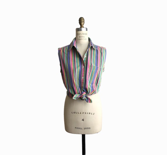 Vintage 90s Striped Summer Sunwashed Top / Sleeveless Top / Faded Cotton Shirt - women's medium