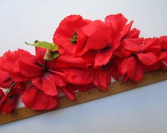 Huge Silk Red Poppies Garland Flowers  Halo Vintage Millinery Hat Trims