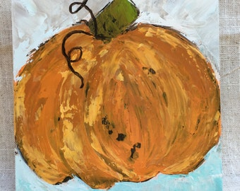 """Pumpkin painting on 6x6 wood panel 1.5"""" thick"""
