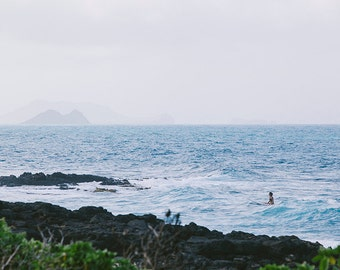 Hawaii Beach Photography, Ocean Sea Summer, Aqua Blue Beach, Seashore Horizon, Surf Decor, Waves Crashing Onshore,  Ocean Art, Seascape Art
