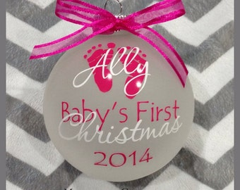 FAST SHIPPING - Personalized Baby's First Christmas Glass Ornament