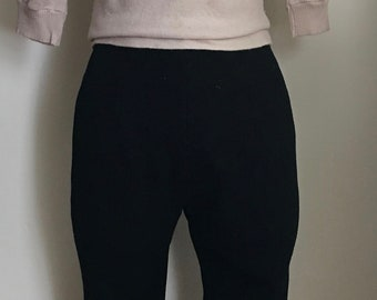 1950's/1960's Black Wool Ski Pants with Removable Foot Straps/Bill Atkinson/High Waist Capris