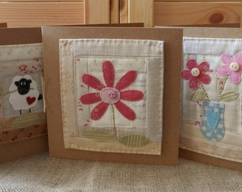 Set of 3 Fabric Panel Greetings Cards - Hand Sewn with Flower and Sheep Applique Detail