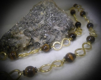 Tiger Eye Beaded 20 inch Brass Hand Made Necklace