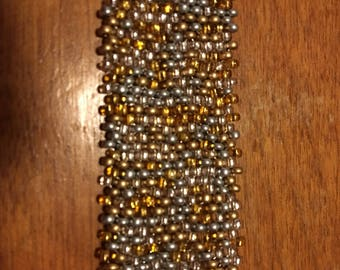 Sparkling Silver and Gold Beaded Bracelet