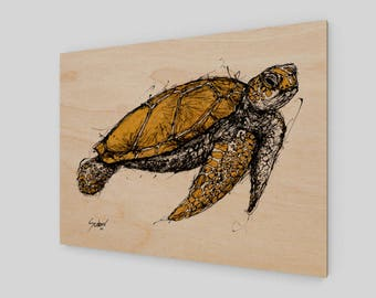 Honu'ea Sea Turtle Wood Art Print Wall Home Decor Gold Black Beach House