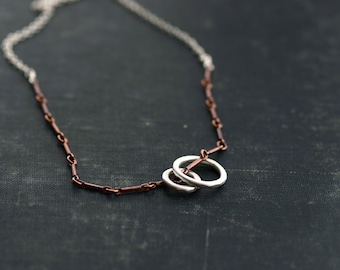 Sterling Rings on Copper and Sterling Chain Necklace - Mixed Metal